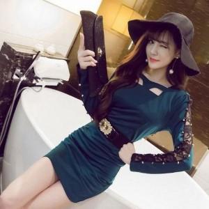 キャバドレス 75G 緑 グリーン ボディコン ミニ ドレス 長袖 ベルト Vネック ナイト パーティー セクシー 送料無料
