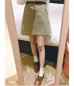 【送料無料】ボトムズ スカート ショート丈 チェック柄 ミニ丈 レトロ ギンガムチェック 大人かわいい オフィス BEI S M L XL lary-1430