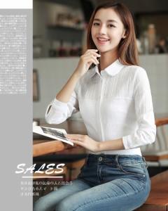 シャツ ブラウス/レディース/大きいサイズ 白シャツ/キレイめ/カジュアルシャツ/スリム/通勤/長袖シャツ/ファッション/ホワイト ブルー