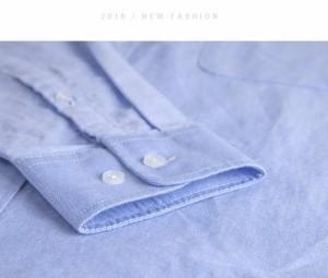 春夏シャツ メンズ カジュアルシャツ ワイシャツ 長袖 無地  デュエボットー二 ボタンダウン ファション オフィス コットン 38-44