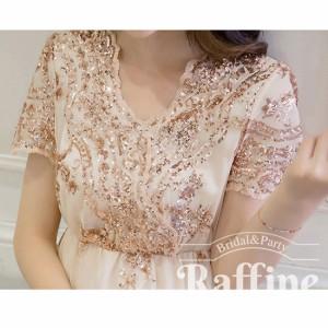 スパンコール刺繍がゴージャスなロングドレス 結婚式 お呼ばれに RF0726