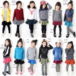 子供服 韓国子供服 女の子 スカッツ レギンス キッズ [全16色 上質ストレッチポケット付き10分丈 無地 柄] ×送料無料 M1-2