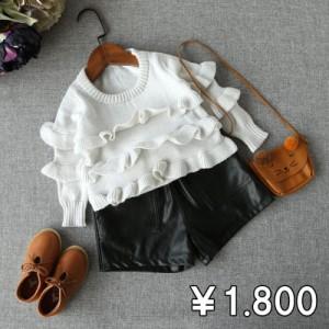 韓国子供服 フリルがたくさん ニットトップス【韓国こども服 海外】