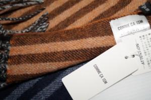 コムサイズム COMME CA ISM マフラー ウール100% ストライプ チェック オレンジ 紺 ストール 冬物 メンズ 男女兼用 男性用
