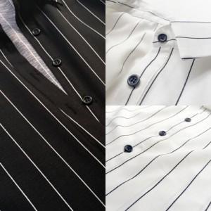 きちんと感の襟付き☆シャツワンピ風ストライプミニワンピース zxy2561
