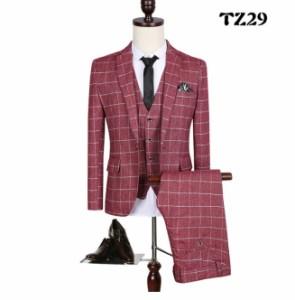 20代30代40代 3ピーススーツ メンズ スリーピーススーツ セットセットアップ 二次会 花婿の介添えOL通勤 結婚式 チェック柄大きいサイズ