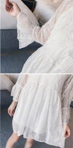 チュールワンピース レース ワンピ キャミソール 2点セット 長袖 透かし彫り パーティードレス 結婚式 上品 お呼ばれ レディース