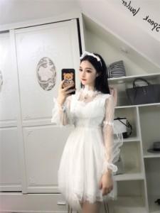 【送料無料】ドレス ワンピース  ワンピ レース チュール 長袖 結婚式 パーティードレス お呼ばれ レディース 姫系 蝶結び レース