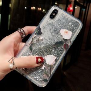 iphone6s Plus/iPhone6Plus/iPhone7Plus/iPhone7/iPhone8 Plus/iPhone8/iPhoneXケース花柄液体流砂キラキラケース【yk231】