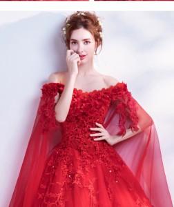 341d9a13ee5f7 新品人気 花嫁ドレス ウェディングドレス 赤 二次会 パーティードレス ロングドレス 大きいサイズ 結婚式