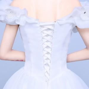 ee5f2c3ca257c オフショルダー 着痩せ ウエディングドレス 白ホワイトドレス 舞台衣装 パーティドレス イブニングドレス 結婚式 演奏会 二次会