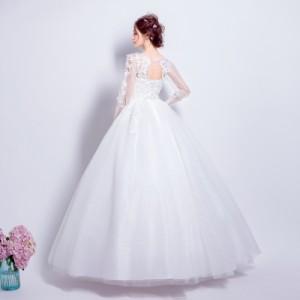 1bbda31e10b8f 花嫁ドレス ウエディングドレス 披露宴二次会 気質 長袖Aライン ロングドレス ウエディングドレス 白 ドレス☆格安 結婚式 花嫁