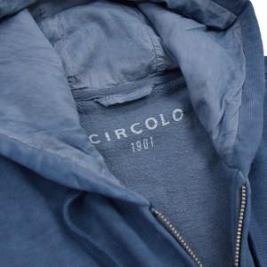 【セール 45%OFF!】CIRCOLO1901 チルコロ1901 メンズジップアップパーカー CN1910 ウォッシュドブルー