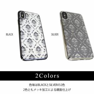 iPhoneX 専用 ケース ブランド BLACK BY MOUSSY ブラックバイマウジー ダマスク柄 クリアケース ワイヤレスにも充電対応 シンプル
