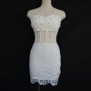 キャバドレス 95W 白 ホワイト ボディコン ミニ ドレス オフショル レース シースルー ミニワンピ ナイト パーティー 送料無料
