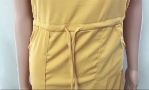 膝丈ワンピース Vネック リボン 半袖チュニック 着痩せ(メール便送料無料)