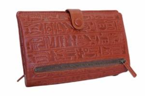 【コインは別に持つ方は重宝 送料無料】 薄型古代エジプト文字多機能財布 牛革