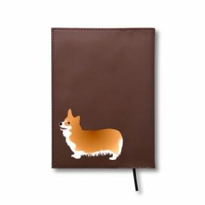 コーギー 文庫 ブックカバー レザー ペット 犬 生き物 動物 アニマル