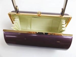 エナメル草履バッグセット横丸型紫色(金)M・L 振袖成人式&卒業式袴・着物に 日本製