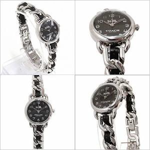コーチ 時計 レディース COACH アウトレット デランシー ブラック×シルバー レザー 腕時計  14502725