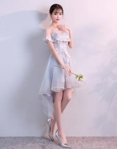 f45e4b632ae2f パーティー 二次会 プリンセス 流行りの花レース ドレス ワンピース高級 ウェディング 花嫁ドレス イブニングワンピー