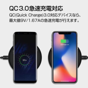 iPhone8/X対応 FAST CHARGE ワイヤレス充電パッド Qi規格対応スマホを置くだけ充電 QC3.0急速充電可  LP-FANT09
