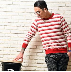 【SALE】 ニット メンズ 長袖 クルーネック セーター ボーダー ニットセーター トップス 新品 trend_d