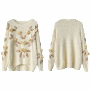 バラ ラウンドネック 花柄 刺繍 ニット セーター トップス 長袖 秋冬 レディース