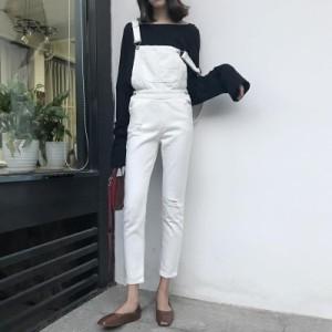 2018春夏 サロペット ホワイト デニム ダメージ ジーンズ デニムパンツ 0379
