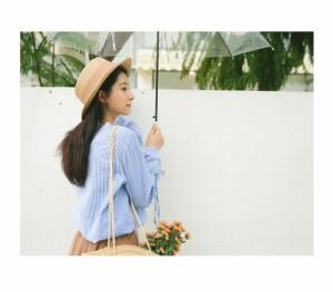 トップス ブラウス 花柄 刺繍 ストライプ ブルー ホワイト デザイン袖 0687