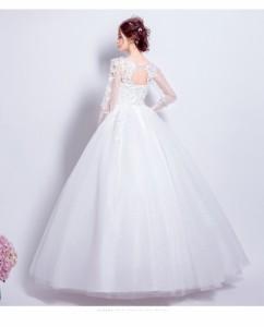 60ce92868bb32 花嫁ドレス ウエディングドレス 披露宴二次会 気質 長袖Aライン ロングドレス ウエディングドレス 白 ドレス☆格安 結婚式 花嫁