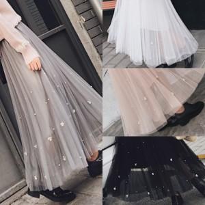 マキシ丈☆レーススカート☆ロング丈☆シフォン☆プリーツ☆2018☆春