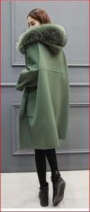 フェイクファー フード付き ゆったり ウールブレンド アウターコート XTAL8002