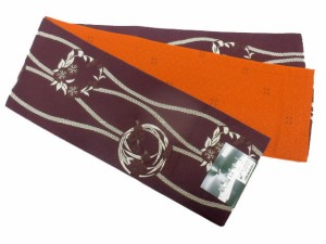 半幅帯 半巾 細帯 浴衣帯 四寸帯 リバーシブル四寸帯 日本製 小豆地 立涌 花輪 柄 no3043