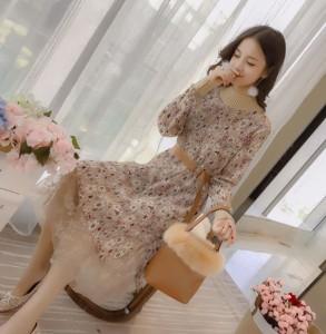ラウンドネック花柄ワンピース ロング丈シースルー yqmx1128