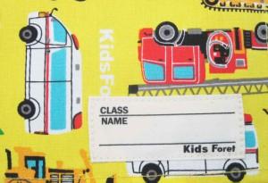 ランチマット ランチクロス イエロー×働く車柄 Sサイズ Mサイズお弁当 ランチ 小学校 学校給食 幼稚園 保育園 丸高