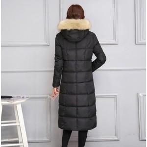 ロングダウンコート 中綿コート レディース ダウンジャケット ロングコート フード付き  フェイクファスナー アウター