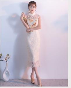 チャイナドレス エレガント 刺繍花柄 ミモレ スレンダーライン ノースリーブ チャイナ風 披露宴 パーティー 演奏会 司会 ステージ衣装