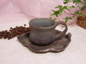 炭化焼カップ&ソーサー(陶芸家作品) 激安セール アウトレット価格 人気ランキング