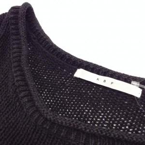 ケービーエフ 異素材切替半袖カットソー A1289 黒 / ブラック × 茶 / ブラウン KBF 無地 本体:麻100%