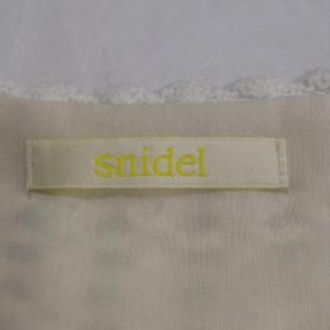 スナイデル 柄×ニット切替タンクトップ A2903 白 / ホワイト × 水色 / ライトブルー snidel