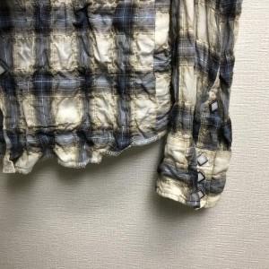 トローヴ シワ加工 チェック柄 長袖 ウエスタンシャツ 540925 白 / ホワイト、青 / ブルー TROVE チェック