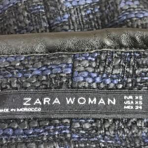ザラ ツイード ミニスカート 0107100052028 黒 / ブラック × 紺 / ネイビー ZARA
