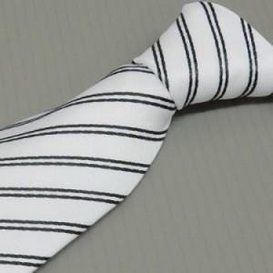 モーニング用ネクタイ 白系縞 甲州織 日本製 ポリエステル100% メール便