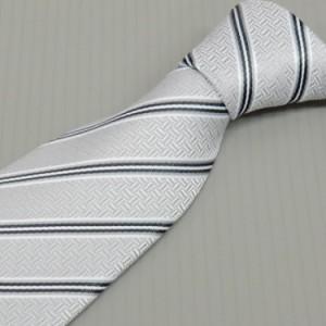 モーニング用ネクタイ 銀系縞 甲州織 日本製 ポリエステル100% メール便