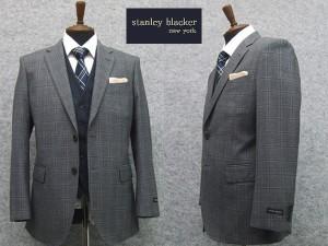 2015[STANLEY BLACKER] スタンリーブラッカー スリーピースベーシック2釦シングルスーツ グレー系窓格子 [A体]3ピース