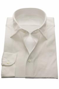 ニットシャツ【SHIRTSBAR】 白 綿100% 60番双糸 天竺 セミワイド ワイシャツ ドレスシャツ スリム