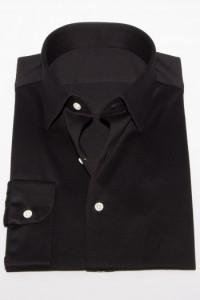 ニットシャツ【SHIRTSBAR】 黒 綿100% 60番双糸 天竺 セミワイド ワイシャツ ドレスシャツ スリム
