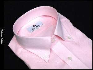 [BONARIO] ワイシャツ スリムフィット ボタンダウン 長袖 ピンク ネット柄 綿100% 形態安定 本縫い ドレスシャツ
