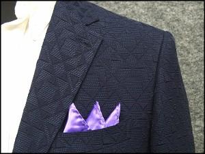 通年物ジャケット [東洲斎写楽] 紺 幾何学模様 ジャガード [AB体]仕様 ベーシック2釦 メンズ ブランド SKJ14
